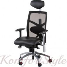 Кресло руководителя EXACT BLACK LEATHER, BLACK MESH